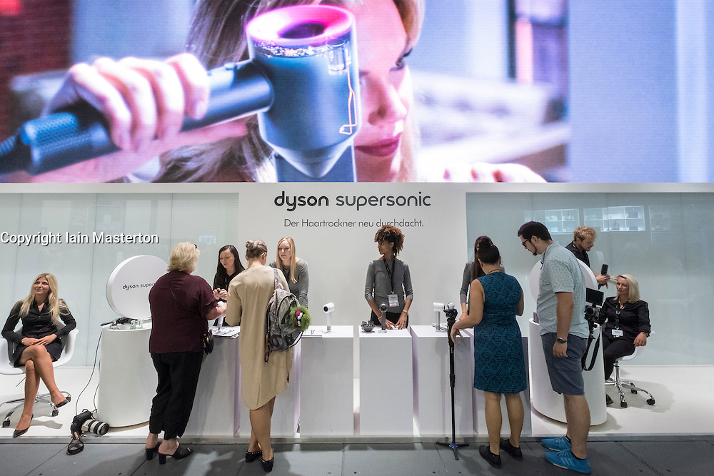 Dyson stand with supersonic hairdryer demonstration at 2016  IFA (Internationale Funkausstellung Berlin), Berlin, Germany