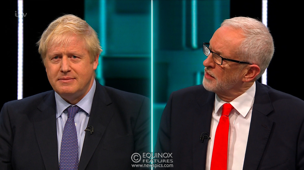 Broadcast TV, United Kingdom - 19 November 2019<br /> Labour leader Jeremy Corbyn and Prime Minister Boris Johnson debate live on ITV tonight as part of the 2019 general election campaign.<br /> (supplied by: Supplied by: EQUINOXFEATURES.COM)<br /> Picture Data:<br /> Contact: Equinox Features<br /> Date Taken: 20191119<br /> Time Taken: 213015<br /> www.newspics.com