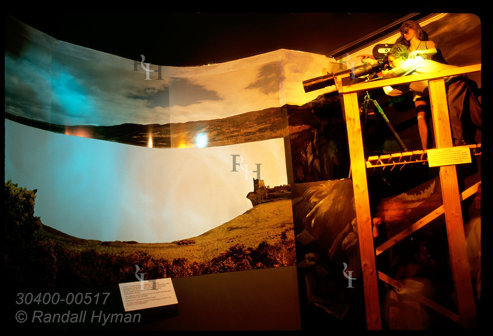 Diorama in 'Nessie' museum shows how people looked for Loch Ness Monster in past; Drumnadrochit. Scotland