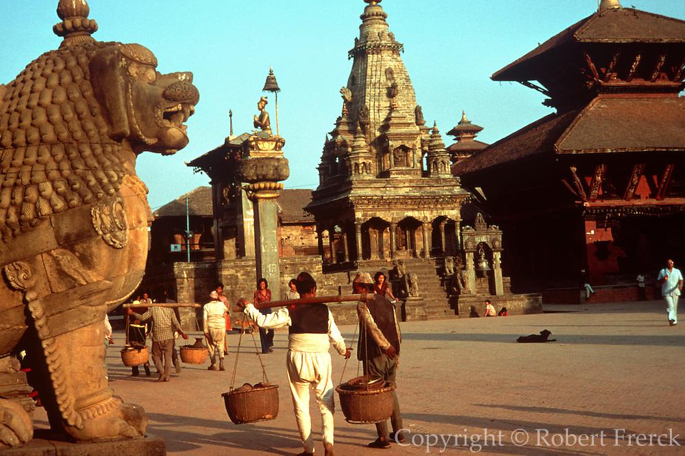 NEPAL, KATHMANDU Buddhist Temples and Pagodas in Durbar  Square in Bhadgaon near Kathmandu