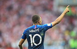 France's Kylian Mbappe celebrates scoring his side's fourth goal of the game