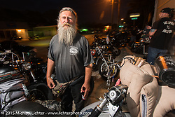 Panhead Billy at Bill Dodge's Bling's Cycle party during Daytona Beach Bike Week 2015. FL, USA. Wednesday, March 11, 2015.  Photography ©2015 Michael Lichter.