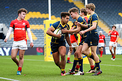 Ollie Lawrence (Bromsgrove School) of Worcester Warriors U18 celebrates scoring a try - Rogan Thomson/JMP - 16/02/2017 - RUGBY UNION - Sixways Stadium - Worcester, England - Worcester Warriors U18 v Saracens U18 - Premiership Rugby Under 18 Academy Finals Day 5th Place Play-Off.