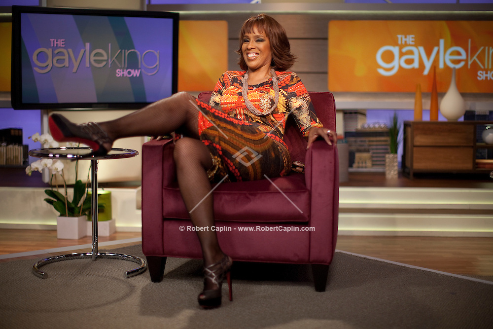 Gayle King poses for a portrait on the set of her television show, The Gayle King Show, on the Opera Network in New York City. ..Photo by Robert Caplin..
