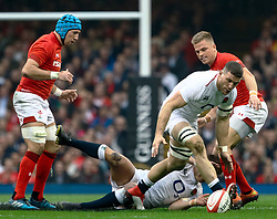 Mark Wilson of England collects the loose ball<br /> <br /> Photographer Simon King/Replay Images<br /> <br /> Six Nations Round 3 - Wales v England - Saturday 23rd February 2019 - Principality Stadium - Cardiff<br /> <br /> World Copyright © Replay Images . All rights reserved. info@replayimages.co.uk - http://replayimages.co.uk