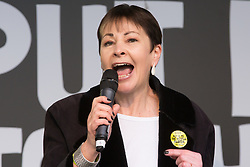 London, UK. 23rd March, 2019. Caroline Lucas, Green MP for Brighton Pavilion, addresses a million people taking part in a People's Vote rally in Parliament Square following a march from Park Lane.