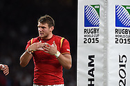 Dan Biggar of Wales looks on. Rugby World Cup 2015 pool A match, England v Wales at Twickenham Stadium in London, England  on Saturday 26th September 2015.<br /> pic by  Andrew Orchard, Andrew Orchard sports photography.