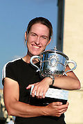 Paris, France. June 9th 2007..Justine HENIN poses with the Suzanne Lenglen trophy on the Place Charles de Gaulle after she won the Roland Garros women's final against Ana IVANOVIC...