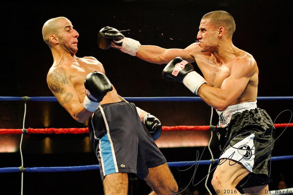 Hedi Bouaziz defeats Christopher Domenech during their bout at the Meidenbauer Center in Bellevue, WA on December 13, 2008.