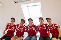 Women team Katja Pozun, Maja Vtic, Spela Rogelj, Ursa Bogataj and Eva Logar during press conference of Slovenian National Nordic teams on July 23, 2013 in SZS, Ljubljana, Slovenia. (Photo by Vid Ponikvar / Sportida.com)