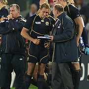 Dan Parks, Scotland, (left) in tears after their defeat during the England V Scotland Pool B match during the IRB Rugby World Cup tournament. Eden Park, Auckland, New Zealand, 1st October 2011. Photo Tim Clayton...