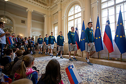 """Players of Slovnian basketball team during award ceremony """"Zlati red za zasluge"""" for Basketball association of Slovenia on the day of statehood in the presidential palace, on June 25, 2018 in Ljubljana, Slovenia. Photo by Urban Urbanc / Sportida"""
