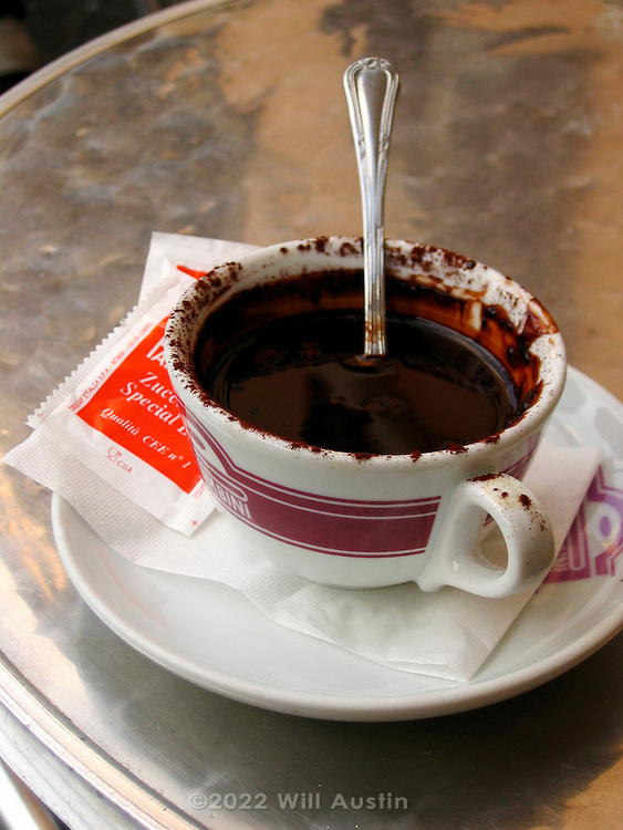 Typical cup of hot chocolate as served in Italy.