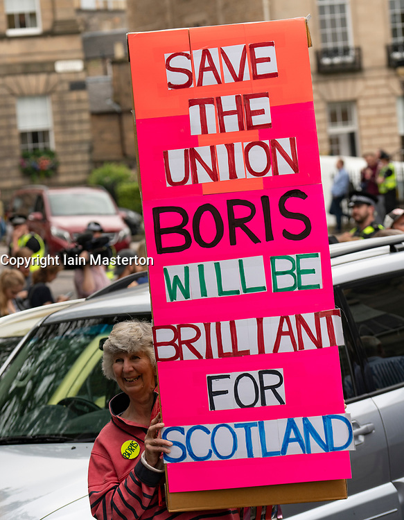 Edinburgh, Scotland, UK. 29 July 2019. Prime Minister Boris Johnson meets Scotland's First Minister Nicola Sturgeon at Bute House in Edinburgh on his visit to Scotland. Pro Boris Johnson supporter hold sign.