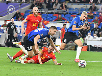 Football - 2022 FIFA World Cup - European Qualifying - Group E - Wales vs Estonia - Cardiff City Stadium - Wednesday 8th September 2021<br /> <br /> Joe Morrell Wales goes down in the penalty area inn extra time <br /> <br /> COLORSPORT/WINSTON BYNORTH