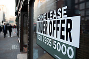 Prime lease under offer sign in Holborn on 21st January 2020 in London, England, United Kingdom. A lease is a contract by which one party conveys land, property, services, etc. to another for a specified time, usually in return for a periodic payment.