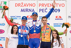 Marko Kump, Blaz Jarc and Blaz Furdi at Slovenian National Championships in Road cycling, 178 km, on June 28 2009, in Mirna Pec, Slovenia. (Photo by Vid Ponikvar / Sportida)