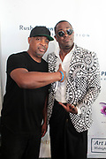 Bridgehampton, New York, NY-July 15: (L-R) Recording Artist Chuck D and Visual Artist (Honoree) attend The 2017 RUSH Philanthropic's  Art For Life held at Fairview Farms on July 15, 2017 in Bridgehampton, New York. (Photo by Terrence Jennings/terrencejennings.com)