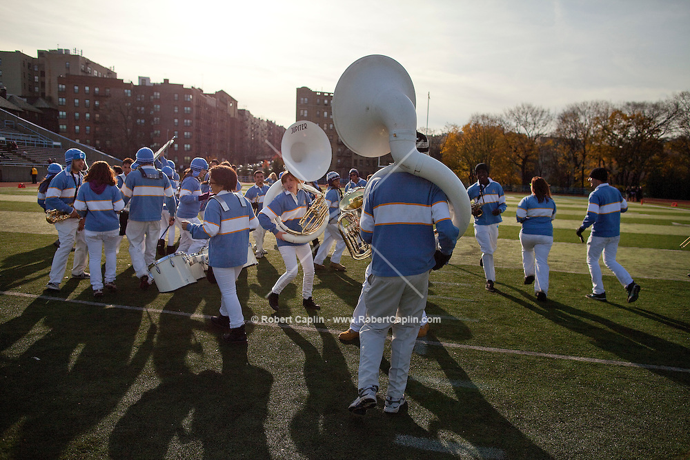 The Columbia University Marching Band during the Columbia vs Brown football game. The marching band had been banned from the game after making fun of the team after the football team's loss to Cornell, but the athletic department reversed that decision and allowed them to play...Photo by Robert Caplin.
