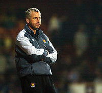 Photo. Chris Ratcliffe<br /> West Ham United v Crewe Alexandra. Coca Cola Championship. 15/03/2005<br /> How much longer? Alan Pardew