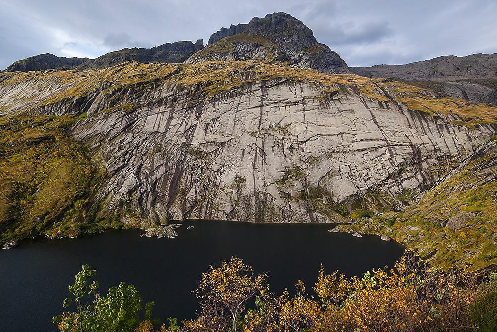 Tridalsvatnet Lake, Moskenesoya, Lofoten Islands, Norway.
