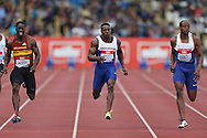 Dwain Chambers, Harry Aikines-Aryeetey © and James Dasaolu ® competing in the Men's 100m Semi Finals.The British Championships 2016, athletics event at the Alexander Stadium in Birmingham, Midlands  on Saturday 25th June 2016.<br /> pic by John Patrick Fletcher, Andrew Orchard sports photography.