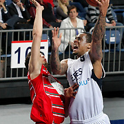 Efes Pilsen's Lawrence ROBERTS (R) during their Turkish Basketball Legague Play-Off qualifying first match Efes Pilsen between Pinar Karsiyaka at the Sinan Erdem Arena in Istanbul Turkey on Wednesday 11 May 2011. Photo by TURKPIX