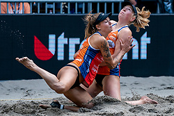 Puk Stubbe, Emma Piersma in action during the second day of the beach volleyball event King of the Court at Jaarbeursplein on September 10, 2020 in Utrecht.