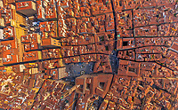 Aerial view above Florence historical center, Italy