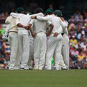 Pakistan celebrate the dismissal of Phillip Hughes during the Australia V Pakistan 2nd Cricket Test match at the Sydney Cricket Ground, Sydney, Australia, 3 January 2010. Photo Tim Clayton