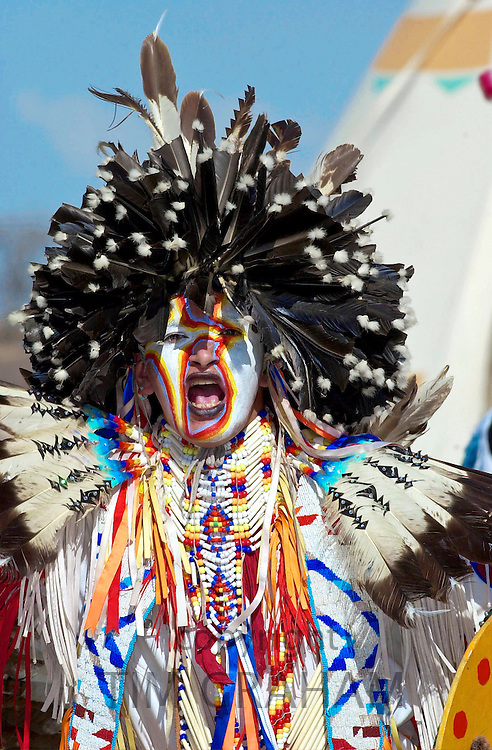 CANADIAN PLAINS INDIANS TAKING PART IN CEREMONY AT WANUSKEWIN HERITAGE PARK, SASKATOON, CANADA