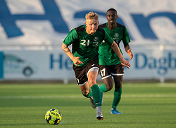 Mathias Kisum (Næstved Boldklub) under træningskampen mellem FC Helsingør og Næstved Boldklub den 19. august 2020 på Helsingør Stadion (Foto: Claus Birch).