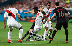 March 23, 2018 - Miami Gardens, Florida, USA - Croatia defender Ivan Strinic (3) moves the ball defended by Peru defender Christian Ramos (15), as Peru midfielder Anderson Santamaria (4), Peru defender Renato Tapia (13), and Croatia forward Nikola Kalinic (16) follow the action during a FIFA World Cup 2018 preparation match between the Peru National Soccer Team and the Croatia National Soccer Team at the Hard Rock Stadium in Miami Gardens, Florida. (Credit Image: © Mario Houben via ZUMA Wire)