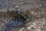 Aerial view of Parfrey's Glen State Natural Area, rural Sauk County, Wisconsin in the winter on an overcast day.