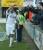 Photo: Aidan Ellis.<br /> Scunthorpe United v Swansea City. Coca Cola League 1. 18/02/2006.<br /> Swansea's Andy Robinson celebrates scoring the first from the spot