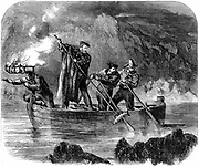 Guiseppe Garibaldi (1807-1882) Italian patriot. Garibaldi spearing fish at night off Caprera 1860-1861. In 1860, at the head of his l,000 Red Shirts, he conquered Sicily and Naples. Wood engraving.