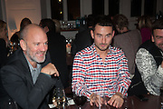 Michael Stipe; Simon Fujiwara DINNER TO CELEBRATE THE ARTISTS OF FRIEZE PROJECTS AND THE EMDASH AWARD 2012 hosted by ANDREA DIBELIUS founder EMDASH FOUNDATION, AMANDA SHARP and MATTHEW SLOTOVER founders FRIEZE. THE FORMER CENTRAL ST MARTIN'S SCHOOL OF ART AND DESIGN, SOUTHAMPTON ROW, LONDON WC1. 11 October 2012