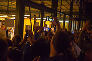 Members of the public cheer as  counting ends at Biblioteca Central Gabriel Ferrater, Sant Cugat del Valles, just outside Barcelona, Catalonia, for the Catalan Independence Referendum. <br /> October 1st 2017, Catalans voted in a binding referendum to decide whether the region should stay in Spain, or leave and become an independent Republic. The Madrid government of Mariano Rajoy sent thousands of extra police into Catalonia, brutally attacking around 10% of  voting centres and seizing ballot boxes, injuring nearly 1000 people in an effort to stop the vote. Despite the violence, there was turn turnout of well more than 42% with around 90% in favour of independence. Some 770,000 votes from an electorate of 5.5 million were stolen by police forces or unable to be cast because of raids.