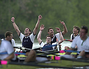 London, ENGLAND, 30.03.2002, University [Varsity] Boat Race, Oxford vs Cambridge over the Championship course - Putney to Mortlake.  Oxford celebrate after winning the 2002 Boat Race,  left to right Ben Birch. Lucas McGee, Dan Perkins and Gerritjan Eggenkamp, © Peter Spurrier/Intersport Images, email images@intersport-images.com. Tel +44 [0] 7973 819 551.