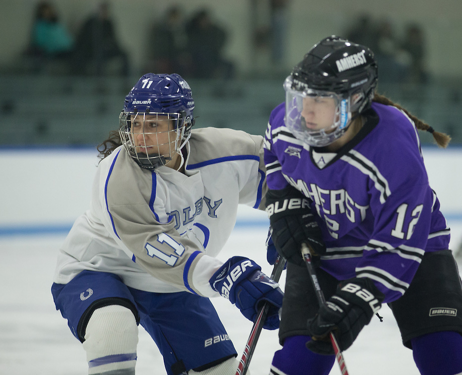 Hannah Dineen, of Colby College, in a NCAA Division III hockey game against Amherst College on January 9, 2015 in Waterville, ME. (Dustin Satloff/Colby College Athletics)