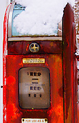 Americana, snow covered rusted gas pump, Berks Co., Parks and Recreation Center, Tulpehocken Creek