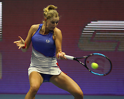 January 31, 2018 - St. Petersburg, Russia - Russian Federation. Saint-Petersburg. SIBUR-arena. Tennis. Tennis match. Tennis, St. Petersburg Ladies Trophy: Ekaterina Makarova - Anastasia Pavlyuchenkova, WTA. Russian. (Credit Image: © Russian Look via ZUMA Wire)