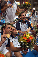 29/08/04 - ATHENS  - GREECE -  - BASKETBALL SEMIFINAL MATCH   - Indoor Olympic Stadium - <br />ARGENTINA win over ITALY and win the GOLD MEDAL<br />Argentine celebration after win the match.<br />In the right PEPE SANCHEZ.<br />© Gabriel Piko / Argenpress.com / Piko-Press