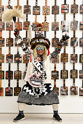 © Licensed to London News Pictures. 12/09/2018. LONDON, UK. Artist Frog King Kwok (Hong Kong) poses at the preview of START, a contemporary art fair comprising eclectic works from a variety of international emerging artists.  The fair takes place at the Saatchi Gallery in Chelsea 13 to 16 September 2018.  Photo credit: Stephen Chung/LNP