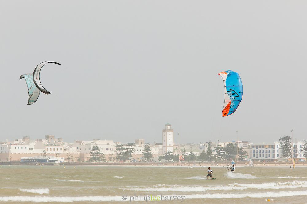 People Kitesurf in the sea in the bay of Essaouira, Morocco