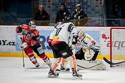 08.01.2017, Ice Rink, Znojmo, CZE, EBEL, HC Orli Znojmo vs Dornbirner Eishockey Club, 41. Runde, im Bild v.l. Peter Pucher (HC Orli Znojmo) Kevin Schmidt (Dornbirner) Florian Hardy (Dornbirner) // during the Erste Bank Icehockey League 41th round match between HC Orli Znojmo and Dornbirner Eishockey Club at the Ice Rink in Znojmo, Czech Republic on 2017/01/08. EXPA Pictures © 2017, PhotoCredit: EXPA/ Rostislav Pfeffer