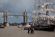 Tall ship moored on the River Thames near Tower Bridge. This was part of the Team France home during the London 2012 Olympics.