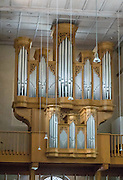 Pipe organ in the Stadtkirche (City Church) in Stein am Rhein village, in Schaffhausen Canton, Switzerland, Europe.