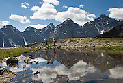 A pond south of Sentinel Pass reflects the Valley of the Ten Peaks, in Banff National Park, Alberta, Canada. This is part of the big Canadian Rocky Mountain Parks World Heritage Site declared by UNESCO in 1984.