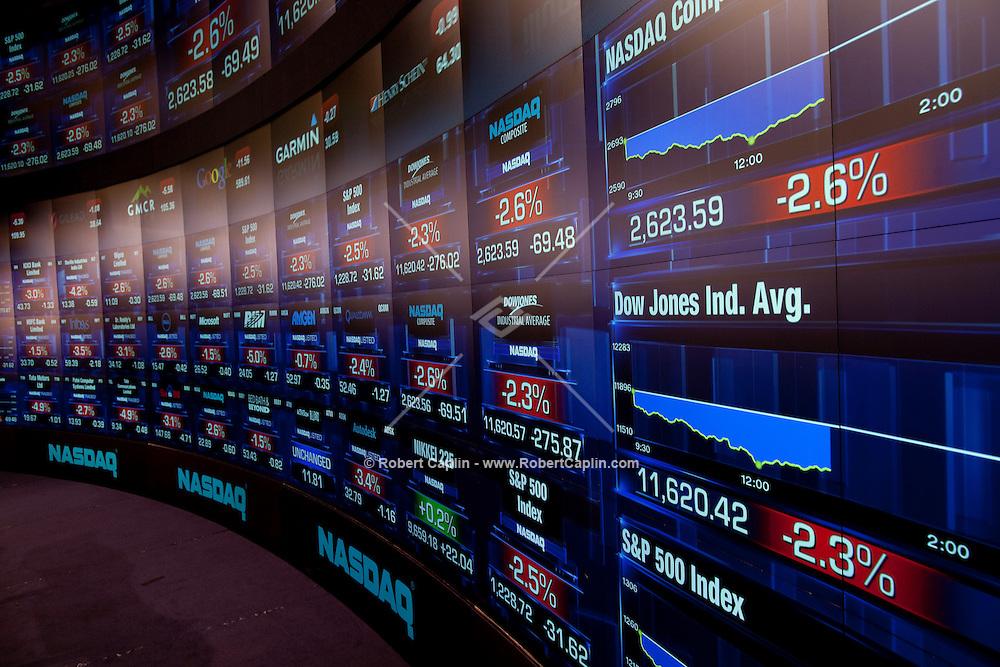 Nasdaq studio in Times Square show falling stock prices. ..Photo by Robert Caplin.